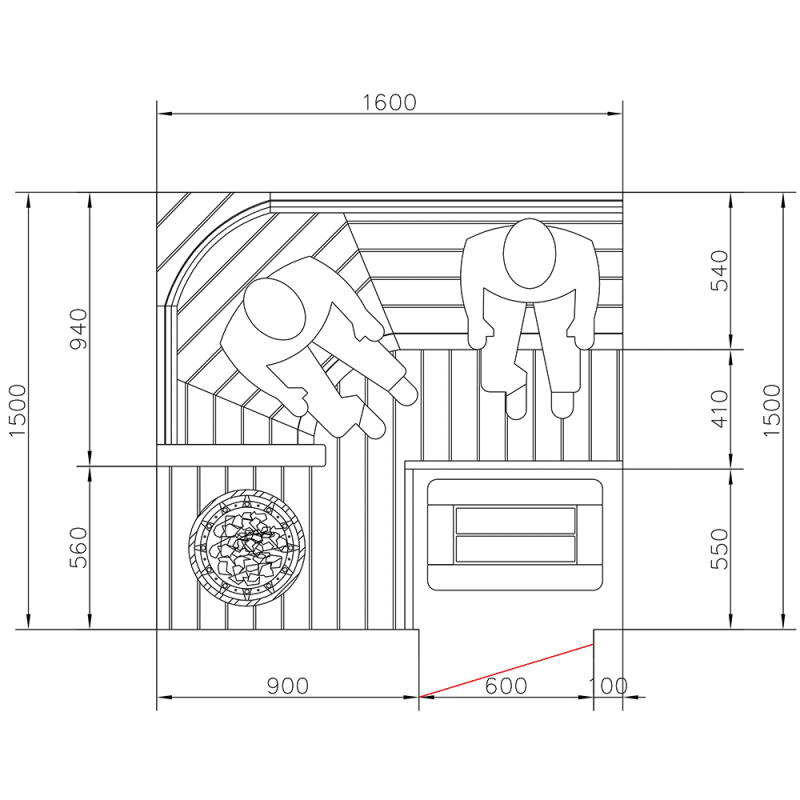 Kulmalaude integroidulla kiukaalla