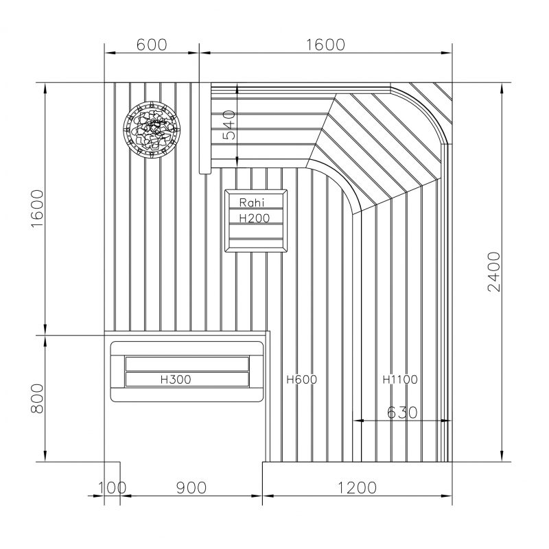 Kahelle erikokoiselle ihmiselle suunniteltu sauna